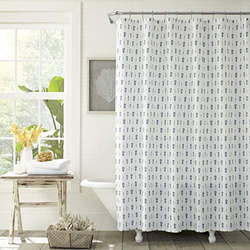 Tommy Bahama Pineapple Pinstripe Shower Curtain, 72x72, Blue