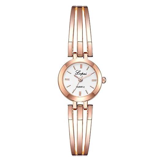 Reloj de Acero Mujer,Simple Casual Fashion Round Dial Pequeño y ...