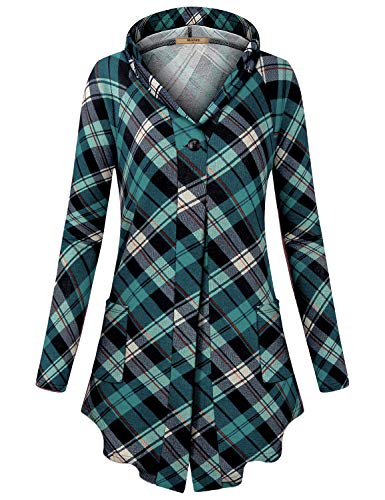 (Miusey Draped Cardigan Women, Girls Fashion Plaid Buffalo Sweater Lightweight Open Front Tunic Slim Fit Breathable Bouncy Elegant Hoodie Tops for Work Office Green L)