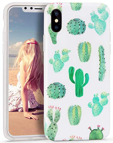 Cactus iPhone Xs MAX Case, White Green Best Protective Cute Women Girl Clear Slim Shockproof Glossy Soft Silicone Rubber TPU Cover Phone Case for iPhone Xs MAX