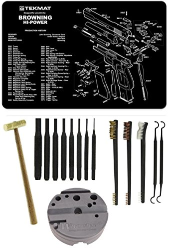 Wheeler 672215 Universal Holder + Gun Mat Browning Hi-Power + 8pc Steel Pin Punch Tool Set + Brass Head Hammer + 3-Double Ended Brushes + 2-Curved Picks