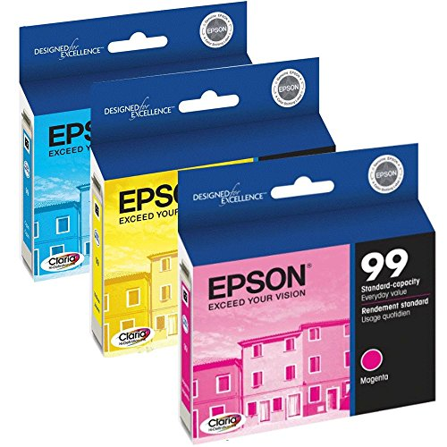 TRI-COLOR PACK OF 3: Genuine Epson No. 99 Hi-Def Standard Capacity Tri-Color Ink Cartridges For Epson Artisan: Cyan T099220, Magenta T099320 & Yellow T099420 (Ink Yellow T099420)