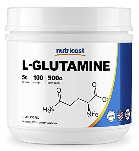 Glutamine Best Powder (Nutricost L-Glutamine Powder [500 G] - Pure L Glutamine - 5000mg per Serving - 1.1 Pounds - 100 Servings - Highest Purity)