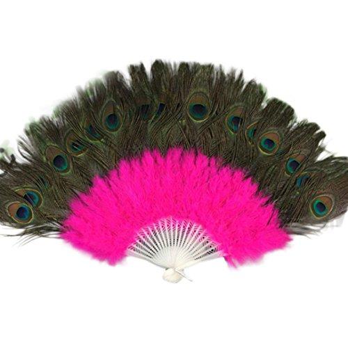 Vibola Feather Folding Fan Wedding Party Showgirl Dance Large Lady Folding Hand Fan Fancy Elegant Props Phantom Wedding Decoration (Hot Pink)