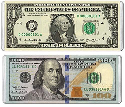 Minipix Puzzles - Bundle of 2 Mini Puzzles - $1 Banknote & $100 Banknote (100 Dollar Bill Puzzle)