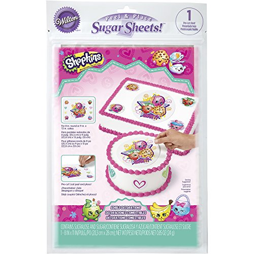 Wilton 710-7117 Shopkins Peel and Place Sugar Sheets Assorted ()