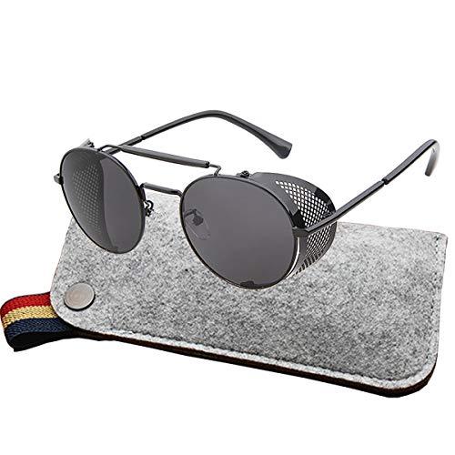 Round Shield Sunglasses - Ibeauti Polarized Retro Round Steampunk Sunglasses Side Shield Goggles Gothic Sunglasses UV400 Protection (Polarized- black Sunglasses)