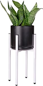 White Plant Stand | Adjustable Modern Indoor & Outdoor Metal Stand | Width 8