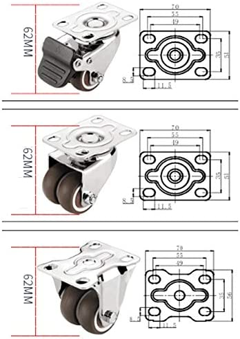 Color : E Byrhgood 4PCS 1.5 Inch Silent Caster Flatbed Trolley Universal Wheel Furniture Roller Steering Wheel With Brake Moving Soft Direction Wheel