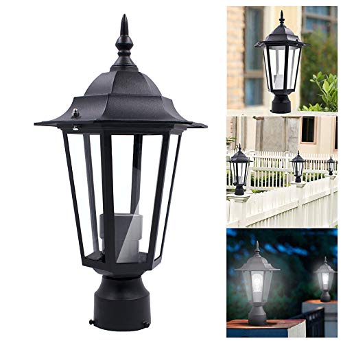 Naiflowers 1/2/3/4 Pack Aluminum Post Lamp Light Fixtures Outdoor Post Lighting Lantern Post Mount Incandescent Post Lantern Lighting Fixtures Waterproof for Patio Yard Fence (1 Pack)