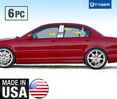 Made in USA! Fit 02-09 Jaguar X-Type 6 PC Stainless Steel Chrome Pillar Post Trim by MaxMate