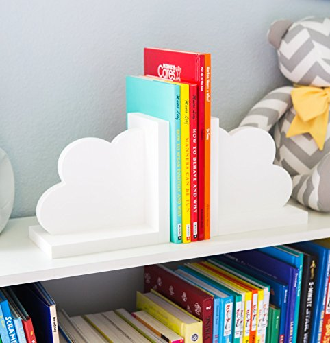 Cloud Bookends for Kids Room Baby Nursery Decor Bedroom Book End Clouds for Shelves - Decorations for Room or (Airplane Bookends)