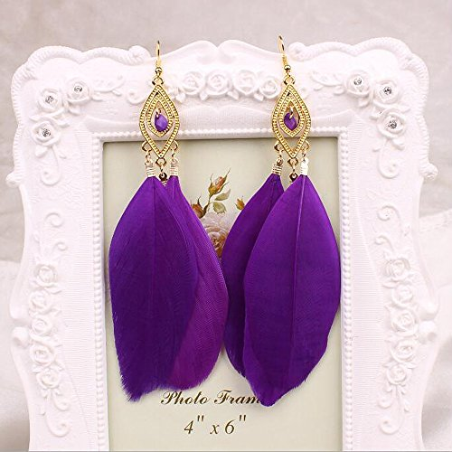 A&C Fashion Bohemia Purple Feather Dangle Earrings Jewelry for Women, Hot Sell Indiana Feather Eardrop for Girls.