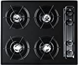 Summit TTL03P 24' Wide Gas Cooktop With Cordless (Battery) Ignition Porcelain Enameled Steel Grates Recessed Top Porcelain Cooking Surface Natural Gas/LP Convertible & In