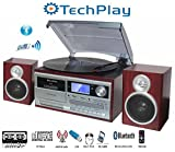 jensen stereo turntable - TechPlay ODC128BT 3-Speed Turntable with Cassette Player/Recorder, CD,MP3 SD Card / USB Player, Digital AM / FM Radio, AUX in, Line Out Alarm Clock , Remote and External Speakers (Cherry Wood)