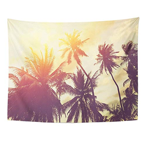 SPXUBZ Wall Tapestry Orange Tropical Beach with Palm Trees Silhouette at Sunset Vintage Effect Red Wall Hanging Decoration Soft Fabric Tapestry Perfect Print for House - Elephant Tree Palm Monkey