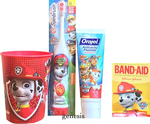 Paw Patrol Children's Oral Hygiene Care Set Powered Toothbrush & Fluoride Toothpaste, Band Aids & Mouth Rinse Cup (Marshall) by Paw Patrol