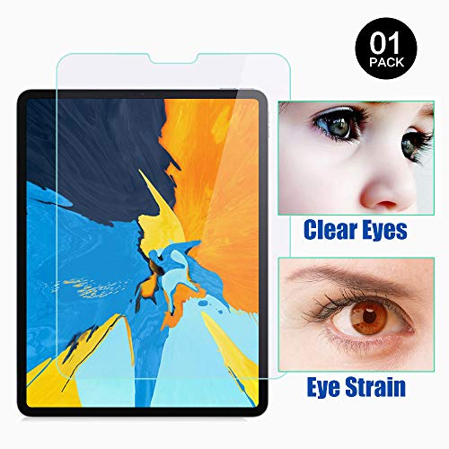 PERFECTSIGHT Screen Protector Compatible with iPad Pro 11 Inch (2018 Model) [55% Anti Glare] Blue Light Filter 9H Anti Fingerprint Tempered Glass [1 Pack] (Best Blue Light Filter App For Iphone)