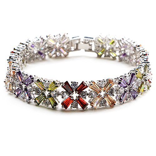 White Gold Plated Multicolor Crystal Bangle Bracelets for Women Cubic Zirconia Colorful Bracelet, 7