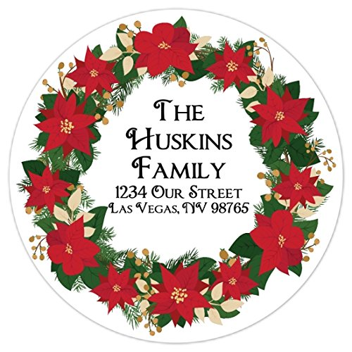Red Wreath Seal (36 Christmas Stickers, Custom Christmas Address Labels, Christmas Wreath, Holiday Stickers, 2.5 inch round)