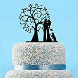 Wedding Cake Topper Tree,Silhouette Cake Topper Dog,Rustic Wedding Bride And Groom Cake Topper,Unique Rustic Cake Topper,Custom Cake Topper