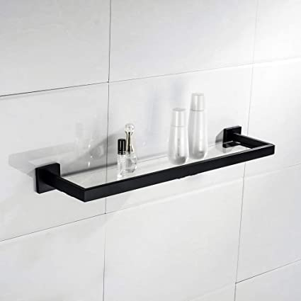 Peachy Turs Bathroom Glass Shelf Rack Sus 304 Stainless Steel Contemporary Tempered Glass Shelves Wall Mount Matte Black Q7011Bk Zwj Download Free Architecture Designs Scobabritishbridgeorg