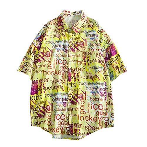 Shirts Hawaiian Short Sleeve Tropical Button Down Summer Fashion Casual Beach Tops Loose Casual Blouse Men (XXL,9- Yellow)]()