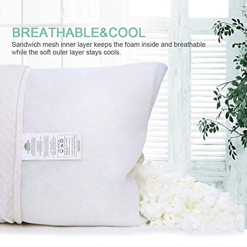 Familamb Adjustable Shredded Memory Foam Pillow for Sleeping with Washable and Removable Bamboo Cover, Best Side/Stomach/Back Sleepers-Hypoallergenic and Dust Mite Resistant, (Queen Size)