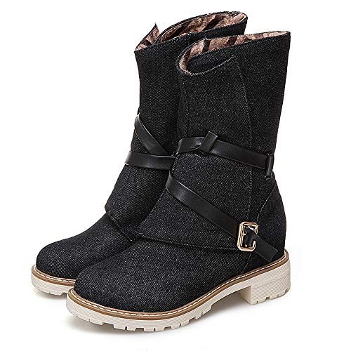 New Espadrilles Calf Boots Canvas Wedges Look Women Booties Shoes Martin Buckle Black Type Strap Ladies Middle wqnfp1SWOa