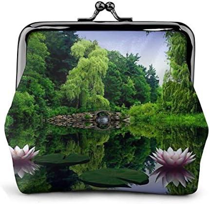 ホワイトサン がま口 財布 小銭入れ 睡蓮は緑の自然を残します 11.5cm×10.5cm×3cm レザー 小物入れ コインケース