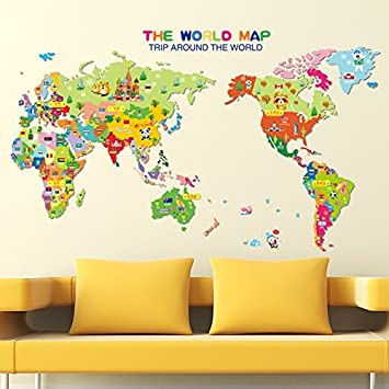 Amazon world map english letters wall decal home sticker pvc world map english letters wall decal home sticker pvc murals vinyl paper house decoration wallpaper living gumiabroncs Images