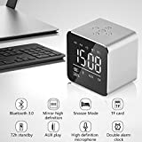 KOBWA Mini Portable Multi-function 3.0 Bluetooth Wireless Speaker - LED Clock/Dual Alarm Clock/Real-time Temperature Display/Wireless Hands-free Calling/Radio, Perfect Sound Quality