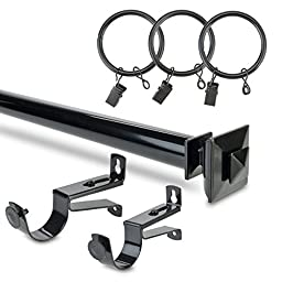 Half Price Drapes HDW-KHSBS-52-144 Stacked Square Rod Expandable Curtain Hardware Set, Black