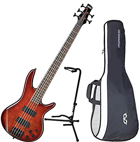 Ibanez GSR205SMCNB 5-String Electric Bass Charcoal Brown Spalted Maple Top w/ Gig Bag and Stand (Bass Gig Bag Ibanez)