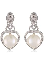 Sterling Silver Freshwater Cultured Pearl and Diamond (0.1cttw, G-H Color, I2-I3 Clarity) Heart Pin Earrings