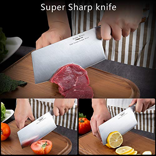 Aroma House Chinese Chef's Knife-7 inch Vegetable and Meat Cleaver Knife, German Stainless Steel Kitchen Knife with Full-tang Pakkawood Handle for Home, Kitchen & Restaurant, Gift Box by Aroma House (Image #5)
