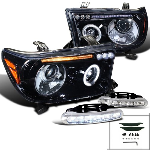 Glossy Black Tundra Halo Rim Projector Headlights W/LED Fog Strips