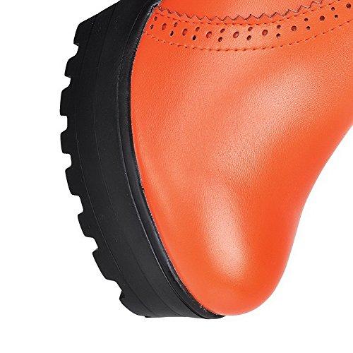 Allhqfashion Dames Low-top Kettingen Zacht Materiaal Hoge Hakken Ronde Laarzen Met Gesloten Neus Oranje