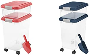 IRIS USA, Inc. 3Piece Airtight Pet Food Storage Container Combo, Red 3 Piece Airtight Pet Food Storage Container Combo, Navy Blue