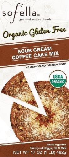 Sof'ella Organic Gluten Free Baking Mix 16-17oz (Pack of 4) Select Flavor Below (Sour Cream Coffee Cake 17oz)