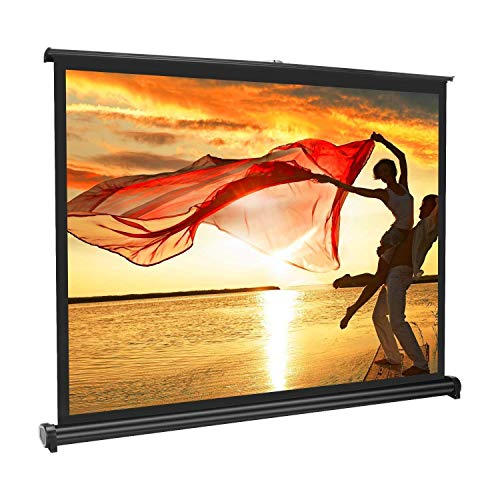 APEMAN 40'' 4:3 Portable HD Projector Screen for Home Cinema Theatre Office Roll-on Pull-Down Collapsible Screen Freestanding Fabric Matte White by APEMAN