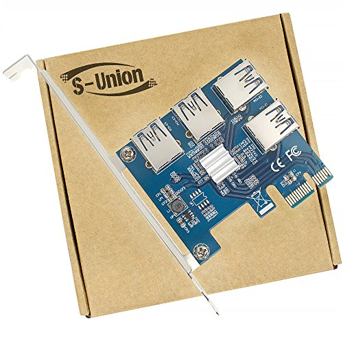 S-Union New 4 in 1 PCI-E Riser Adapter Board 1 to 4 PCI-E 1X Express USB3.0 PCI-E Rabbet Ethereum Mining ETH (4 in 1) ()