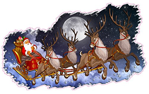 Nostalgia Decals Christmas and Holiday Wall Decor Santa Claus with Sleigh and Reindeer X Large Decal 48