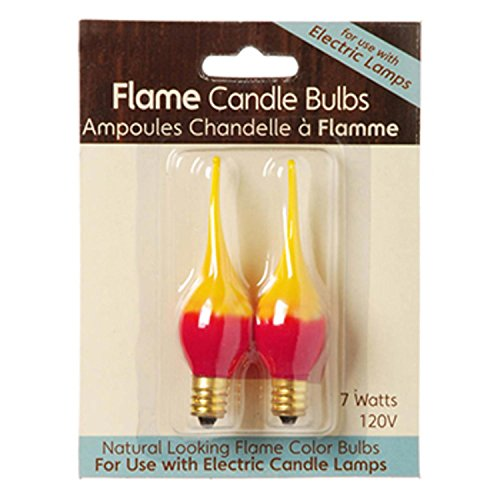 Darice Red and Yellow Fire Flame Electric Candle Lamp Replacement Light Bulbs, 2 Pack