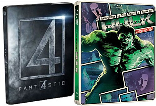 (Marvel Studios Steelbook Pack Fantastic Four 2015 & The Incredible Hulk Blue Ray + DVD Limited Edition Collection)
