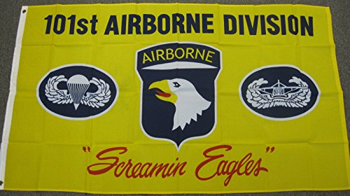 - 101st Airborne Division Flag 3x5 New Screaming Eagles Yellow Army Air Born F008