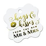 Summer-Ray 50pcs Gold Foil Hot Stamping Pure White Elegant Square Hugs & Kisses from the New Mr & Mrs Wedding Favor Gift Tags