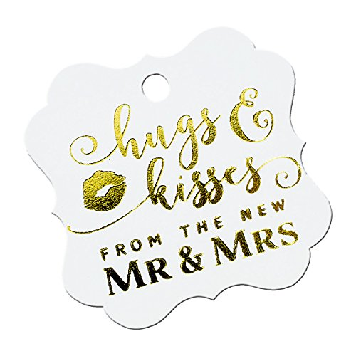 Summer-Ray 50pcs Gold Foil Hot Stamping Pure White Elegant Square Hugs & Kisses from the New Mr & Mrs Wedding Favor Gift Tags ()