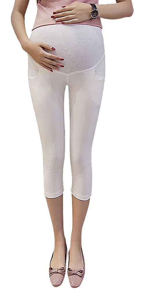 Hibukk Close Fit Stretchy Solid Color Plain Full Panel Maternity Capri Pants, White 4,Manufacturer(L)