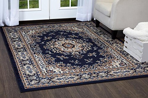 Home Dynamix Premium Sakarya Area Rug by Traditional Persian-Inspired Carpet | Stylish Medallion Print and Classic Boarder Design | Navy Blue, Cream, Brown 5'2
